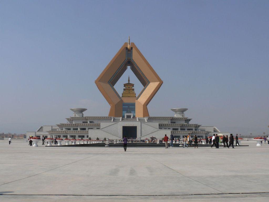 Сюрреалистический храм Famen в Xi'anie в провинции Шэньси